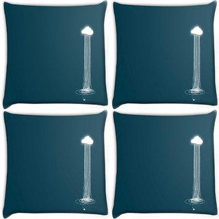 Snoogg Pack Of 4 Rains From The Clouds Digitally Printed Cushion Cover Pillow 10 x 10 Inch
