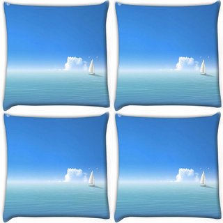 Snoogg Pack Of 4 White Small Boat Digitally Printed Cushion Cover Pillow 10 x 10 Inch