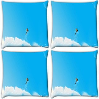 Snoogg Pack Of 4 Helicopter Digitally Printed Cushion Cover Pillow 10 x 10 Inch
