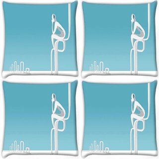 Snoogg Pack Of 4 Waiting For Someone Digitally Printed Cushion Cover Pillow 10 x 10 Inch