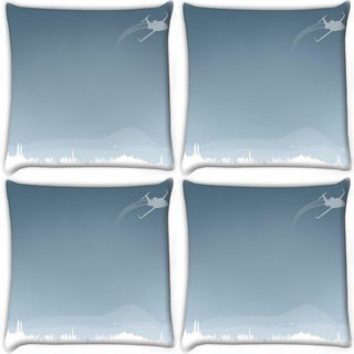 Snoogg Pack Of 4 Flying Plane Digitally Printed Cushion Cover Pillow 10 x 10 Inch