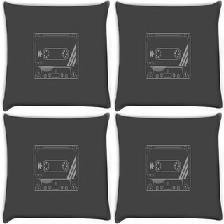 Snoogg Pack Of 4 Cassette Digitally Printed Cushion Cover Pillow 10 x 10 Inch