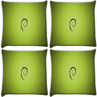 Snoogg Pack Of 4 E On Green Pattern Design Digitally Printed Cushion Cover Pillow 10 x 10 Inch