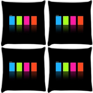 Snoogg Pack Of 4 Colours Digitally Printed Cushion Cover Pillow 10 x 10 Inch