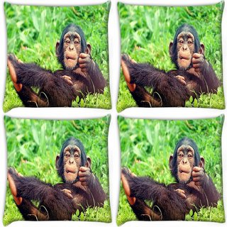 Snoogg Pack Of 4 Chimpanese Digitally Printed Cushion Cover Pillow 10 x 10 Inch