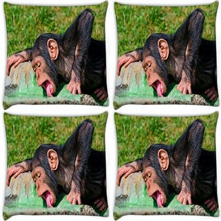 Snoogg Pack Of 4 Chimpanese Drinkng Water Digitally Printed Cushion Cover Pillow 10 x 10 Inch