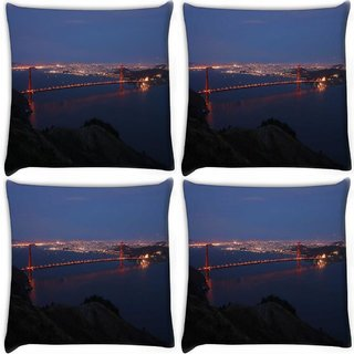 Snoogg Pack Of 4 Abstract Sealing At Night Digitally Printed Cushion Cover Pillow 10 x 10 Inch