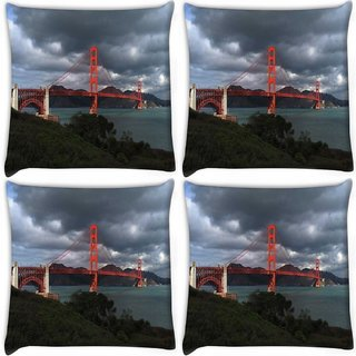Snoogg Pack Of 4 Red Big Sealing Digitally Printed Cushion Cover Pillow 10 x 10 Inch