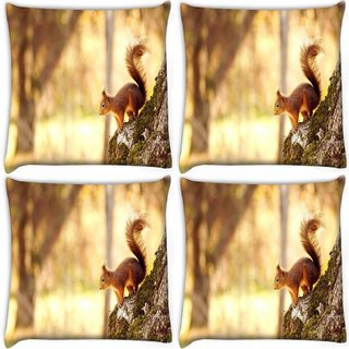 Snoogg Pack Of 4 Abstract Animal Digitally Printed Cushion Cover Pillow 10 x 10 Inch