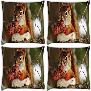 Snoogg Pack Of 4 Squaril Eating Digitally Printed Cushion Cover Pillow 10 x 10 Inch