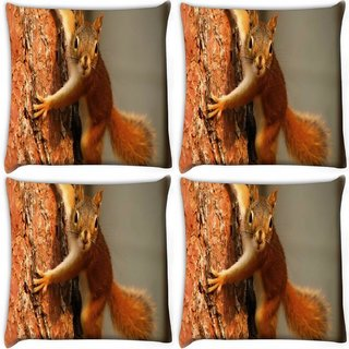 Snoogg Pack Of 4 Squarril On Tree Digitally Printed Cushion Cover Pillow 10 x 10 Inch