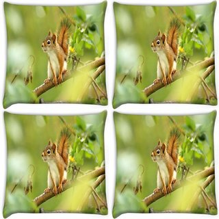 Snoogg Pack Of 4 Squarril On Branch Digitally Printed Cushion Cover Pillow 10 x 10 Inch