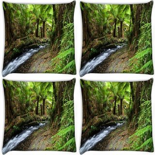 Snoogg Pack Of 4 Lake In Jungle Digitally Printed Cushion Cover Pillow 10 x 10 Inch