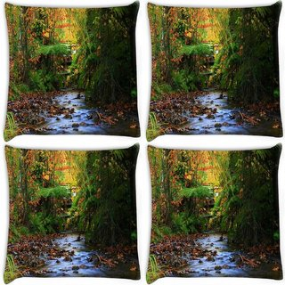 Snoogg Pack Of 4 Colordul Trees Digitally Printed Cushion Cover Pillow 10 x 10 Inch