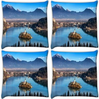 Snoogg Pack Of 4 House Between The Lake Digitally Printed Cushion Cover Pillow 10 x 10 Inch