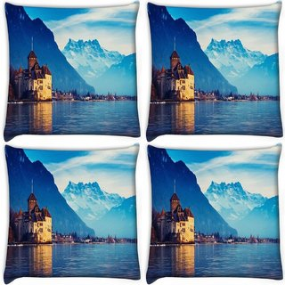 Snoogg Pack Of 4 Lake Side House Digitally Printed Cushion Cover Pillow 10 x 10 Inch