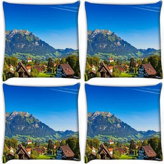 Snoogg Pack Of 4 Abstract Houses And Mountain Digitally Printed Cushion Cover Pillow 10 x 10 Inch