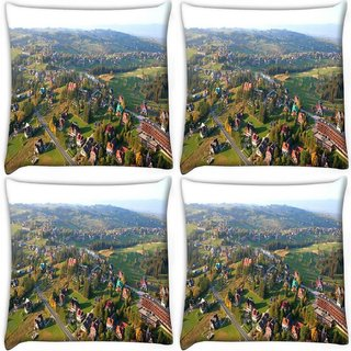Snoogg Pack Of 4 City From The Top Digitally Printed Cushion Cover Pillow 10 x 10 Inch