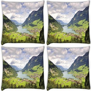 Snoogg Pack Of 4 Abstract Nature Digitally Printed Cushion Cover Pillow 10 x 10 Inch