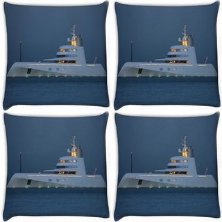 Snoogg Pack Of 4 White Big Boat Digitally Printed Cushion Cover Pillow 10 x 10 Inch
