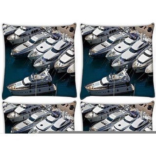 Snoogg Pack Of 4 White Yards Digitally Printed Cushion Cover Pillow 10 x 10 Inch
