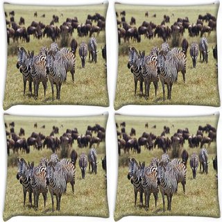 Snoogg Pack Of 4 Multiple Zebra Digitally Printed Cushion Cover Pillow 10 x 10 Inch