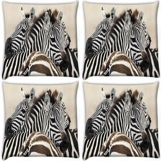 Snoogg Pack Of 4 Black And White Zebra Digitally Printed Cushion Cover Pillow 10 x 10 Inch