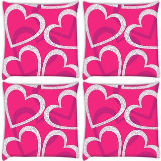 Snoogg Pack Of 4 White Hearts Digitally Printed Cushion Cover Pillow 10 x 10 Inch
