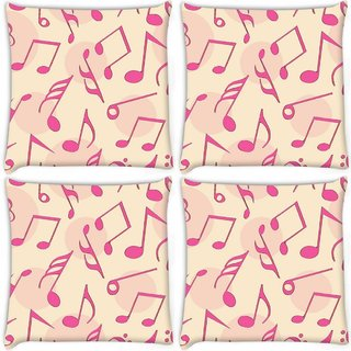 Snoogg Pack Of 4 Pink Music Digitally Printed Cushion Cover Pillow 10 x 10 Inch