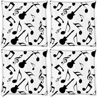Snoogg Pack Of 4 Black Music Digitally Printed Cushion Cover Pillow 10 x 10 Inch
