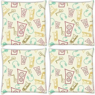 Snoogg Pack Of 4 Speakers And Jazz Digitally Printed Cushion Cover Pillow 10 x 10 Inch