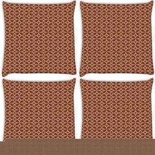 Snoogg Pack Of 4 Abstract Brown Patern Design Digitally Printed Cushion Cover Pillow 10 x 10 Inch