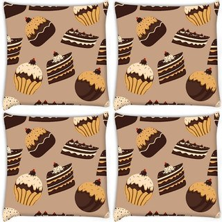 Snoogg Pack Of 4 Abstract Cakes Pattern Digitally Printed Cushion Cover Pillow 10 x 10 Inch