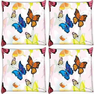 Snoogg Pack Of 4 Blue And Orange Butterfly Digitally Printed Cushion Cover Pillow 10 x 10 Inch