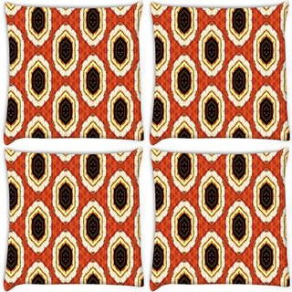 Snoogg Pack Of 4 Abstract Multicolor Design Digitally Printed Cushion Cover Pillow 10 x 10 Inch