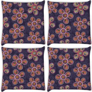 Snoogg Pack Of 4 Dark Florals Digitally Printed Cushion Cover Pillow 10 x 10 Inch