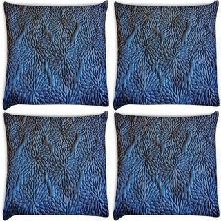 Snoogg Pack Of 4 Blue Pattern Digitally Printed Cushion Cover Pillow 10 x 10 Inch