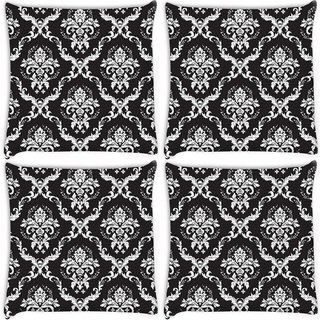 Snoogg Pack Of 4 Grey Pattern Digitally Printed Cushion Cover Pillow 10 x 10 Inch