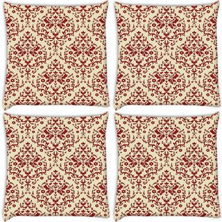 Snoogg Pack Of 4 Red Cream Pattern Digitally Printed Cushion Cover Pillow 10 x 10 Inch