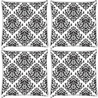 Snoogg Pack Of 4 Black White Digitally Printed Cushion Cover Pillow 10 x 10 Inch