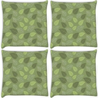 Snoogg Pack Of 4 Green Leaves Digitally Printed Cushion Cover Pillow 10 x 10 Inch