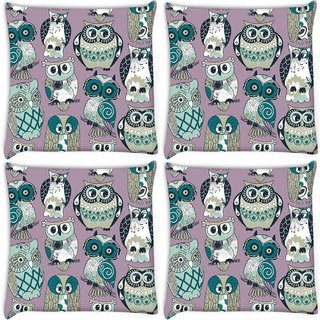 Snoogg Pack Of 4 Dull Owl Digitally Printed Cushion Cover Pillow 10 x 10 Inch