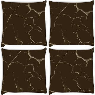 Snoogg Pack Of 4 Brown Crack Digitally Printed Cushion Cover Pillow 10 x 10 Inch