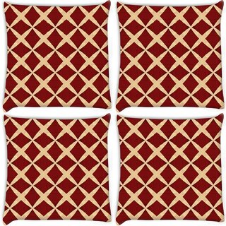 Snoogg Pack Of 4 Red Diamonds Digitally Printed Cushion Cover Pillow 10 x 10 Inch