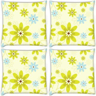 Snoogg Pack Of 4 Green Flowers Digitally Printed Cushion Cover Pillow 10 x 10 Inch