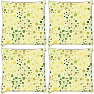 Snoogg Pack Of 4 Green Spots Digitally Printed Cushion Cover Pillow 10 x 10 Inch