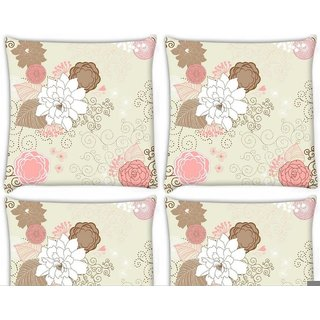 Snoogg Pack Of 4 White Rose Digitally Printed Cushion Cover Pillow 10 x 10 Inch