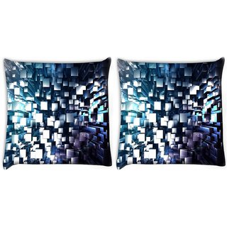 Snoogg Pack Of 2 Silver Blocks Digitally Printed Cushion Cover Pillow 10 x 10 Inch