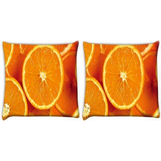 Snoogg Pack Of 2 Slizzed Orange Digitally Printed Cushion Cover Pillow 10 x 10 Inch