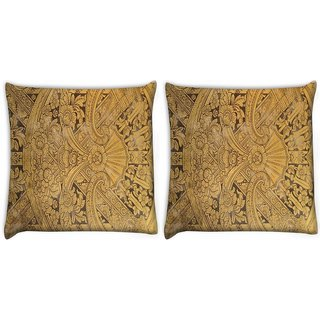 Snoogg Pack Of 2 Abstract Golden Design Digitally Printed Cushion Cover Pillow 10 x 10 Inch